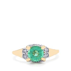 Ethiopian Emerald Ring with Diamond in 18K Gold 1.23cts