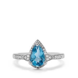 1.62ct Swiss Blue & White Topaz Sterling Silver Ring
