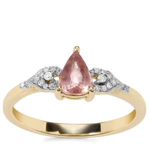 Padparadscha Sapphire Ring with Diamond in 9K Gold 0.74ct
