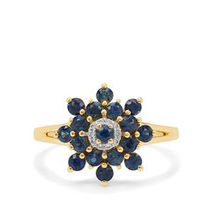 Australian Blue Sapphire Ring with White Zircon in 9K Gold 1.05cts