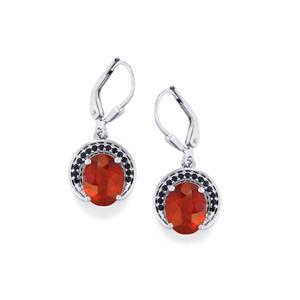 Hessonite Garnet & Black Spinel Platinum Plated Sterling Silver Earrings ATGW 4.54cts