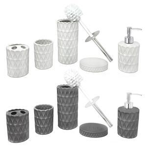 Ceramic Bathroom Essentials - 5 Piece Set in Grey or White
