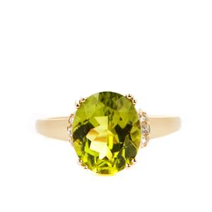 Red Dragon Peridot Ring with White Zircon in 9K Gold 4.35cts