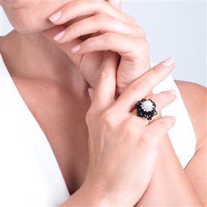 Smokey Quartz, Kaori Cultured Pearl & White Topaz Sterling Silver Ring