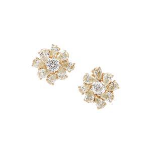 1.14ct Natural Yellow & White Diamond 18K Gold Tomas Rae Earrings