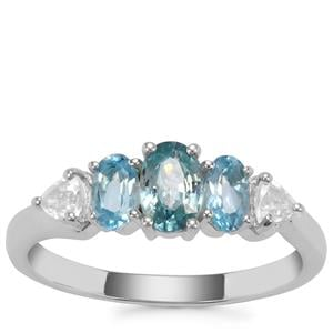 Ratanakiri Blue Zircon, Swiss Blue Topaz Ring with White Zircon in Sterling Silver 1.58cts