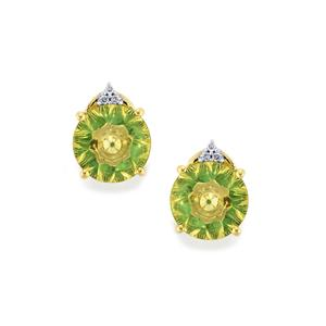 Lehrer KaleidosCut Green Gold Quartz, Zambian Emerald Earrings with Diamond in 10K Gold 3.25cts