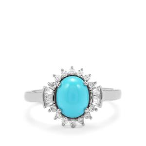 Sleeping Beauty Turquoise Ring with White Zircon in Platinum Plated Sterling Silver 1.98cts