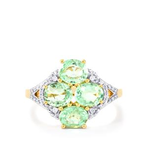 Paraiba Tourmaline Ring with Diamond in 18k Gold 2.36cts