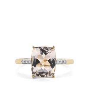 Alto Ligonha Morganite Ring with Diamond in 10k Gold 2.60cts