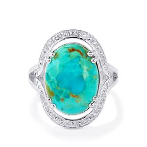 Cochise Turquoise Ring with White Topaz in Sterling Silver 7.48cts