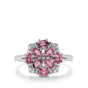 Sakaraha Pink Sapphire & White Topaz Sterling Silver Ring ATGW 1.75cts