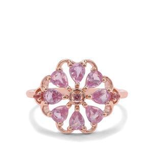 Sakaraha Pink Sapphire & Pink Tourmaline 9K Rose Gold Ring ATGW 1.07cts