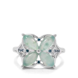 Gem-Jelly Aquaprase™ & Blue Diamond Sterling Silver Ring ATGW 2.20cts