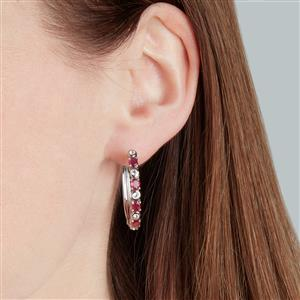 Madagascan Ruby Earrings with White Topaz in Sterling Silver 2.52cts (F)