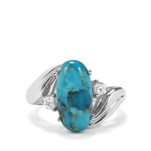 Bonita Blue Turquoise & White Topaz Sterling Silver Ring ATGW 5.41cts