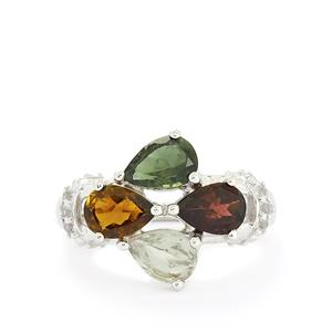 Multi-Colour Tourmaline & White Topaz Sterling Silver Ring ATGW 2.45cts