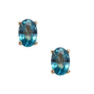 1.49ct Ratanakiri Blue Zircon 10K Gold Earrings