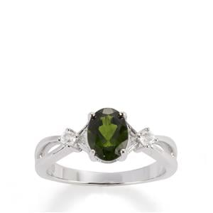 Chrome Diopside & White Topaz Sterling Silver Ring ATGW 1.50cts