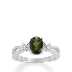 Chrome Diopside Ring with White Topaz in Sterling Silver 1.50cts