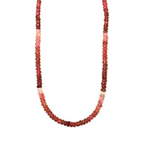 Pink Tourmaline Graduated Bead Necklace in Sterling Silver 62.50cts