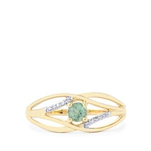 Alexandrite Ring with Diamond in 10K Gold 0.27ct