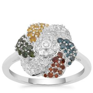 Multi-Colour Diamond Ring in Sterling Silver 0.75ct