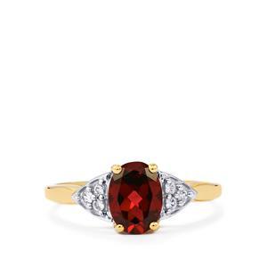 Rajasthan Garnet & White Zircon 10K Gold Ring ATGW 1.44cts