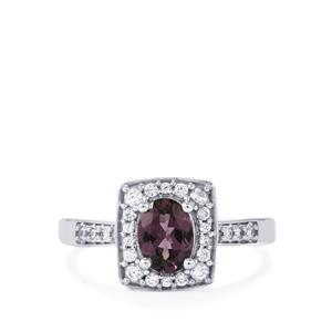 Mahenge Purple Spinel Ring with White Zircon in 9K White Gold 1.18cts