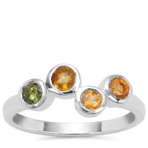 Songea Multi Sapphire Ring in Sterling Silver 0.93ct