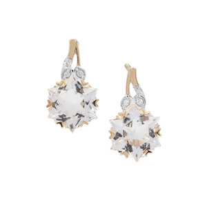 Wobito Snowflake Cut Itinga Petalite Earrings with Diamond in 9K Gold 3.94cts
