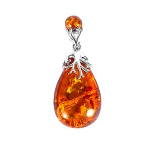 Baltic Cognac Amber Sterling Silver Pendant