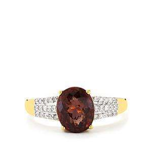 Colour Change Garnet & Diamond 18K Gold Tomas Rae Ring MTGW 3.62cts