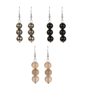Pyrite, Grey Agate & Black Onyx Sterling Silver Set of 3 Earrings ATGW 77.73cts