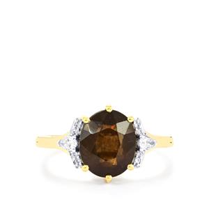 Bekily Colour Change Garnet Ring with Diamond in 18K Gold 4.09cts