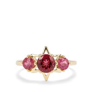 Mahenge Pink Garnet & Safira Tourmaline 9K Gold Star Ring ATGW 1.53cts