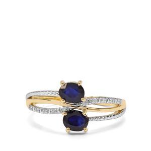 Sri Lankan Sapphire & Diamond 9K Gold Ring ATGW 0.94cts