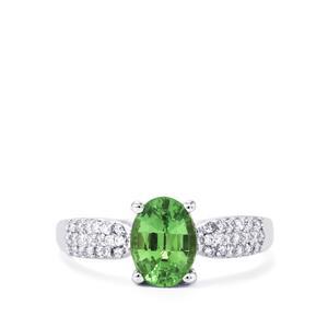 Tsavorite Garnet Ring with Diamond in 18K White Gold 1.71cts