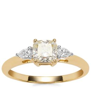 Natural Coloured Diamond Ring with White Diamond in 18K Gold 1.05cts