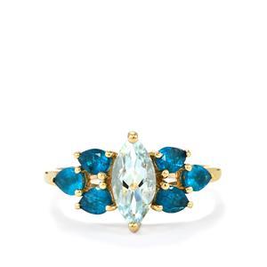 Pedra Azul Aquamarine & Neon Apatite 9K Gold Ring ATGW 1.73cts