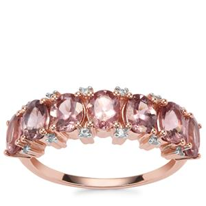 Mahenge Pink Spinel Ring with White Zircon in 9K Rose Gold 2.56cts