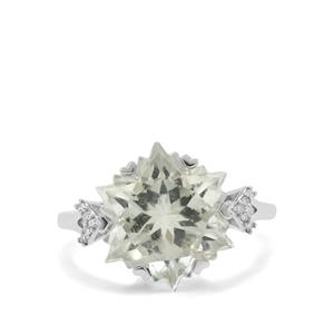 Wobito Snowflake Cut Prasiolite Ring with Diamond in 9K White Gold 7.05cts
