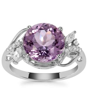 Rose De France Amethyst Ring with White Zircon in Sterling Silver 4.19cts