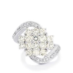 Goshenite & White Topaz Sterling Silver Ring ATGW 1.91cts