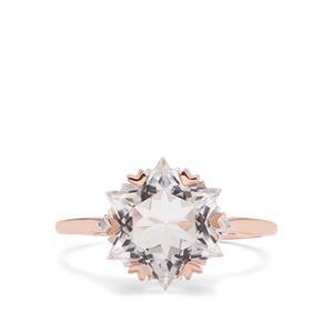 Wobito Snowflake Cut Itinga Petalite & Diamond 9K Rose Gold Ring ATGW 3.76cts