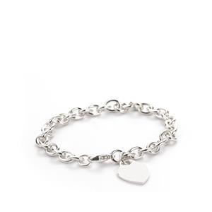 """7.5"""" Sterling Silver Altro Heart Belcher Bracelet 18.15g"""