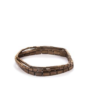 130ct Brown Haematite Set of 3 Elastic Bracelet
