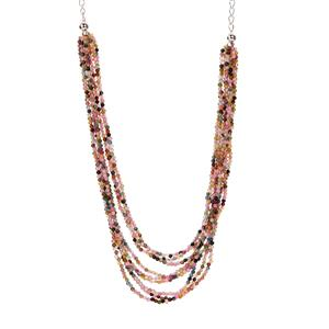 Muli-Colour Tourmaline Necklace in Sterling Silver 73.15cts