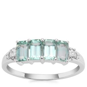 Aquaiba™ Beryl Ring with White Zircon in 9K White Gold 1.17cts