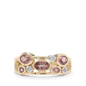 Padparadscha Sapphire Ring with White Zircon in 9K Gold 1.25cts